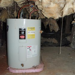 A water heater in a Naturita crawl space