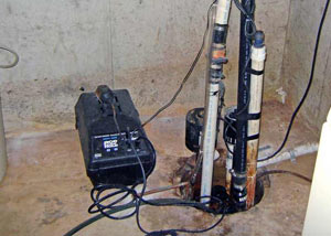 Pedestal sump pump system installed in a home in Austin