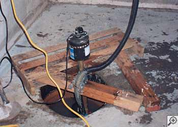 A Austin sump pump system that failed and lead to a crawl space flood.