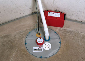 A sump pump system with a battery backup system installed in Mesa